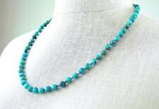 Turquoise Necklace Silk Knotted Fine Round Stones 22 Inches
