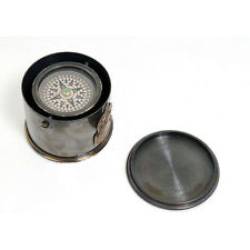 "Antiqued Brass Gimbal Compass 2.6"" Drum Case w/ Cap Nautical Desktop Decor New"