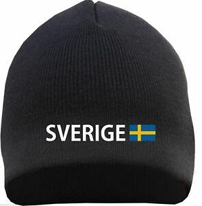 Sverige Beanie - Schwarz - Bestickt mit Text und Flagge - schweden mütze