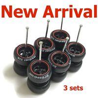 1:64 rubber tires 4 sp black rim fit Hot Wheels Japan Historic diecast -  3 sets