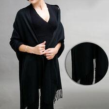 Silk Solid Pashmina Shawl LONG180X70Wrap Stole Cashmere Wool Silk Blend Scarf