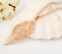 18K White / Rose Gold GF Inlay Crystal Filigree Leaf Charm Pendant Necklace Gift