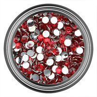 Red Resin Rhinestone Gem - 2mm 3mm 4mm 5mm 6mm - Flat Back - Nail Art