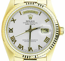 Rolex Men's President Day-Date 18k Yellow Gold Fluted w/ White Roman Dial 36mm
