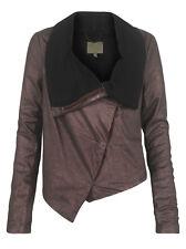 Muubaa Matar Leather Drape Cardigan in Bronze. RRP £349. M0375. UK 10.
