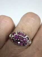 Vintage Ruby Ring 925 Sterling Silver Size 6.5
