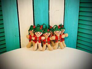 7 Pc Set Sequin Felt  Vintage Christmas Ornaments Handmade Gingerbread Man  #311