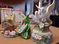 Birds,3 Porcelain Figurines, Dove Figurines,Hummingbird Figurines, Ceramic Birds