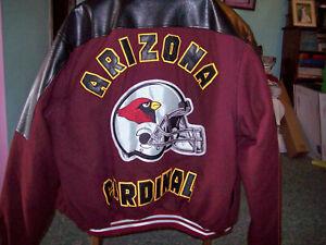 Arizona Cardinals Vintage Leather Winter Coat Jacket Coat Mens XL Pleated lined