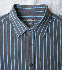 MICHAEL Micheal Kors Men's Brown Blue Strip L/S Shirt XL XLarge *NICE*