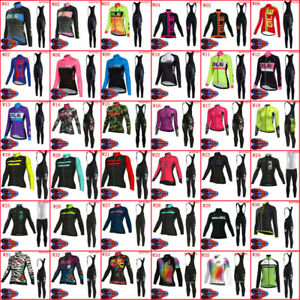 Womens Long Sleeve Cycling Jersey Set Racing Bike Uniforms Road Bicycle Clothing