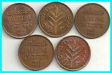 ISRAEL/PALESTINE - 5 x 2 MILS-MANDATE COINS. AUNC . RARE !!!!