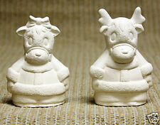 Ceramic Bisque Reindeer Salt Pepper Shakers Clay Magic Mold J752 Ready To Paint