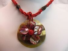 (HAWAIIAN) RUBY RED Bead, WOOD, & LARGE Sea Shell FLOWER Pendant Necklace N0111