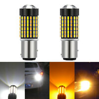 2x 1157 BAY15D Switchback White/Amber 3014 120-LED Turn Signal Lights Dual Color