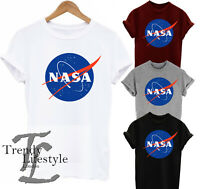 NASA SPACE LOGO PRINT ASTRONAUT  TRENDY GEEK T-SHIRT 4 COLORS