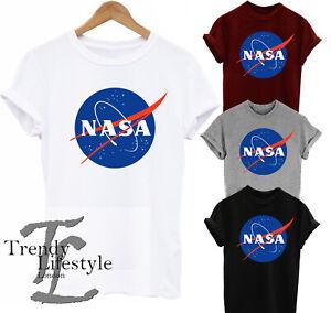 NASA SPACE LOGO PRINT ASTRONAUT  TRENDY GEEK MENS KIDS UNISEX T-SHIRT 4 COLORS