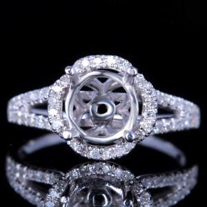 Solid 10K White Gold BrilliantRound 7mm Diamond Wedding Ring Semi Mount Setting