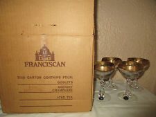Tiffin #17679 Franciscan Westchester Gold Encrusted Champagnes w/ Box
