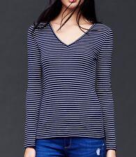 Gap Woman dark Blue Modern V-neck fine stripe Long Sleeve tee T-shirt
