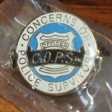 """Concerns of Police Survivors"" C.O.P.S Inc. Round Gold Toned Collectible Pin NEW"