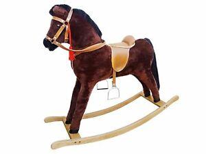 Solido cavallo a dondolo baio per bambini da 3 anni con solidi finimenti 96-112