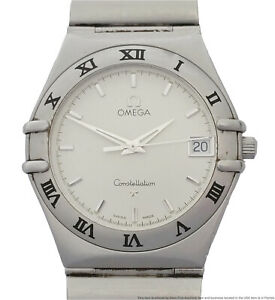 Omega Constellation Stainless Steel Mid Size Mens Date Working Wrist Watch 34mm