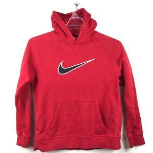Nike Boys Pullover Hoodie Red Black Long Sleeve Swoosh Kangaroo Pocket Youth XL