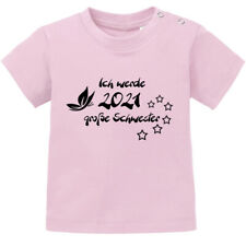 """Baby T-Shirt, Spruch """"Ich werde 2021 große Schwester"""" Sterne 100% BIO Baumwolle"""