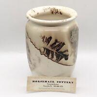 "2008 Horsehair Pottery Bachert Signed Hand Thrown Decor Vase Pot USA 6.5""H 5""W"