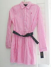 Ralph Lauren Girls Striped Long Sleeve Shirtdress Pink/White Sz 16 - NWT