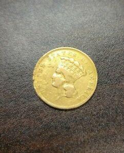1855 $3 Gold Indian Princess Coin - Raw Three Dollar US Gold