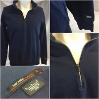 Nike Tiger Woods Golf Pullover M Blue 1/4 Zip Cotton Lycra No Flaws YGI A9-104