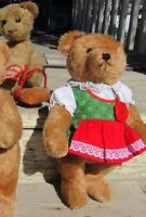 "VINTAGE TEDDY BEAR HERMANN ORIGINAL MOHAIR GROWLER GERMANY GIRL 13"" DRESS TAG"