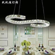 Modern S Crystal shade LED Chandelier Ceiling Pendant Dining Lighting Lamps