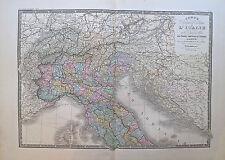 Carte de l'Italie du Nord, région des Alpes, XIXe