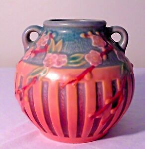 SCARCE ROSEVILLE CHERRY BLOSSOM PATTERN ARTS & CRAFTS POTTERY VASE