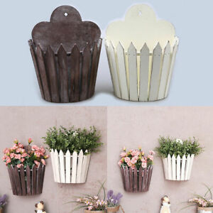 Wall Mounted Hanging Wood Basket Flower Stand Holder Garden Plant Pot Container