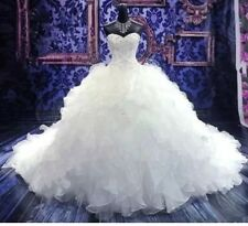 UK Sweetheart White/ivory Organza Ruffle Wedding Dress Bridal Gown Size 6-22