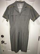 Vintage Flight Attendant Maid Uniform Dress Button Pocket Cosplay Stewardess