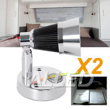2X12V LED Swivel Reading Light RV Caravan Interior Bedside Book Chart Ipad Lamp