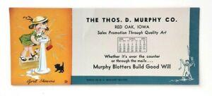 1954 Ink Blotter The Thos D Murphy Co April Showers Red Oak Iowa