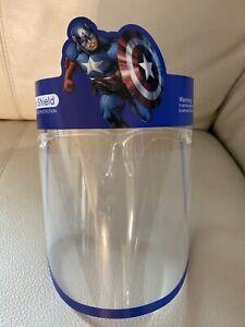 Safety Reusable Face Shield For Kids Anti Splash Anti Fog 1 pair (capt. america)