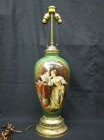 Striking Early 20th Century Handpainted European Porcelain Table Lamp; Signed