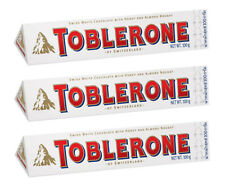 TOBLERONE WHITE Swiss Chocolate Bars pack of 3 x 100g 3.5oz = total of 300 grams