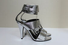 New sz 8 / 38 Saint Laurent Metallic Silver Leather Heel Ankle Sandal Shoes