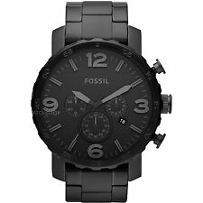 Fossil Nate Black-Tone Dial Stainless Steel Chrono Quartz Men's Watch JR1401
