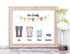 Family Welly Print Family Wellies Print Personalised Wellington boot print