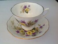 BONE CHINA CUP & SAUCER BY ROYAL ALBERT PURPLE VIOLETS YELLOW FLOWERS