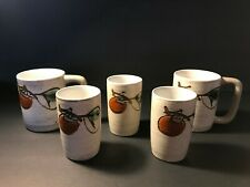 Vtg Set (5) Otagiri Stoneware Brown Speckled Persimmon Coffee Mugs & Tea Cups